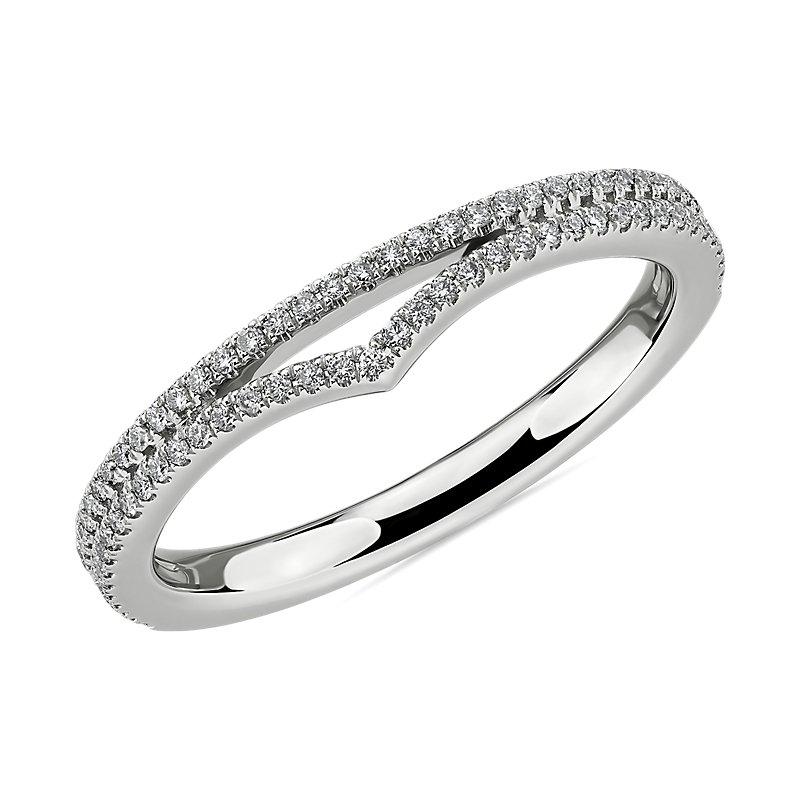 Double Row Pavé Chevron Diamond Ring in 14k White Gold (1/