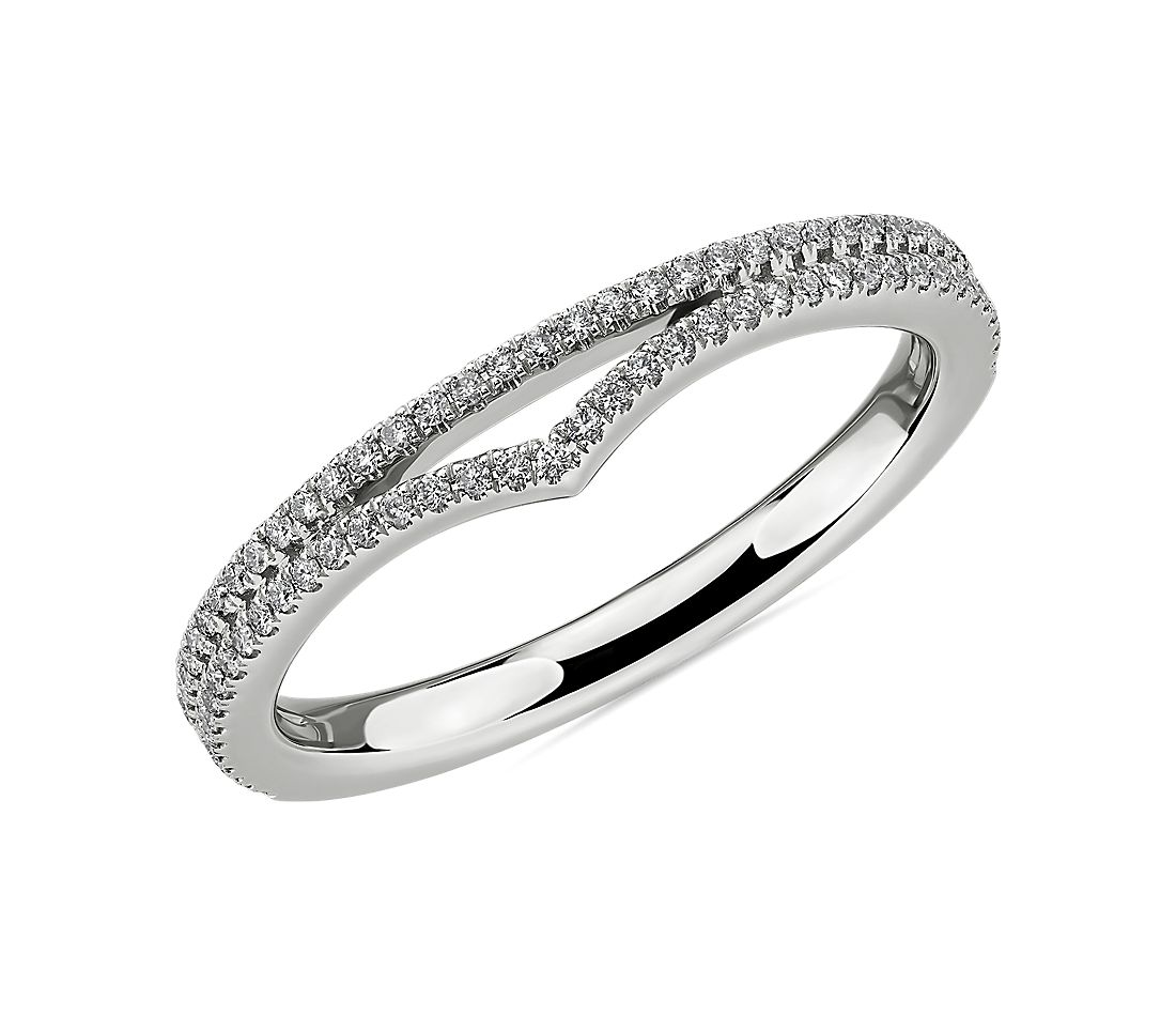 Double Row Pavé Chevron Diamond Ring in 14k White Gold (1/4 ct. tw.)