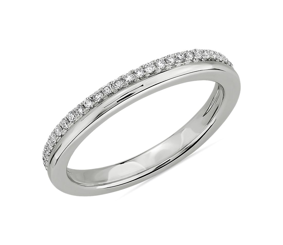 Double Row Polished & Pavé Diamond Wedding Ring in 14k White Gold (1/5 ct. tw.)