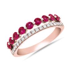新款 18k 玫瑰金双排式 Riviera 密钉和红宝石时尚戒指