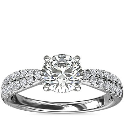 NEW Double Row Tapered Pavé Diamond Engagement Ring in 14k White Gold (1/4 ct. tw.)