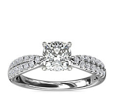 Double Row Tapered Pavé Diamond Engagement Ring in 14k White Gold (1/4 ct. tw.)