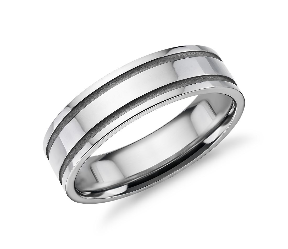 Double Sandblast Inlay Wedding Band in Platinum (6mm)