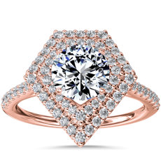NEW Double Shield Diamond Halo Engagement Ring in 14k Rose Gold (1/3 ct. tw.)