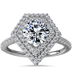 NEW Double Shield Diamond Halo Engagement Ring in 14k White Gold (1/3 ct. tw.)