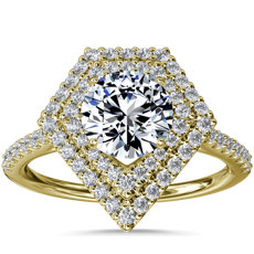 NEW Double Shield Diamond Halo Engagement Ring in 14k Yellow Gold (1/3 ct. tw.)