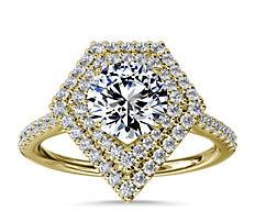 Anillo de compromiso con halo de diamantes y motivo de doble escudo  en oro amarillo de 14k (1/3 qt. total)