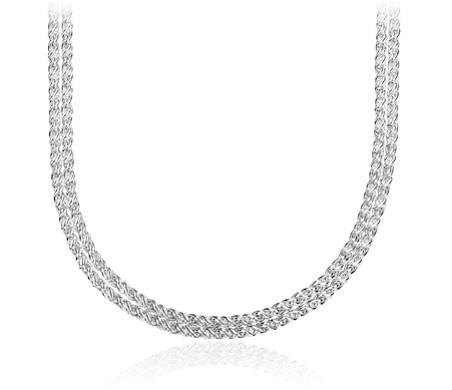 Double Strand Polished Woven Necklace in Sterling Silver