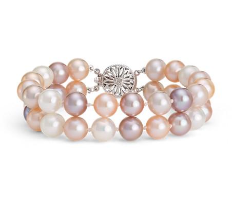 Brazalete de doble vuelta de perlas cultivadas de agua dulce en oro blanco de 14 k (8,0-9,0mm)