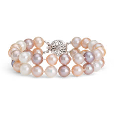 Double-Strand Multicolored Freshwater Cultured Pearl Bracelet in 14k White Gold (8.0-9.0mm)