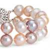 Double-Strand Pink Freshwater Cultured Pearl Bracelet in 14k White Gold (8.0-9.0mm)