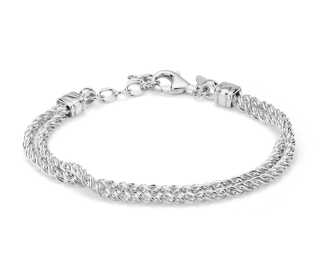 Double Strand Polished Woven Bracelet in Sterling Silver