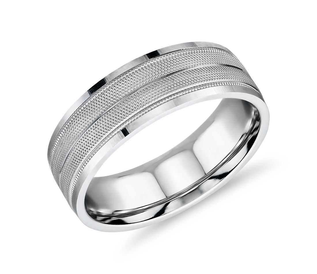 Double Textured Inlay Band with Milgrain in 14k White Gold