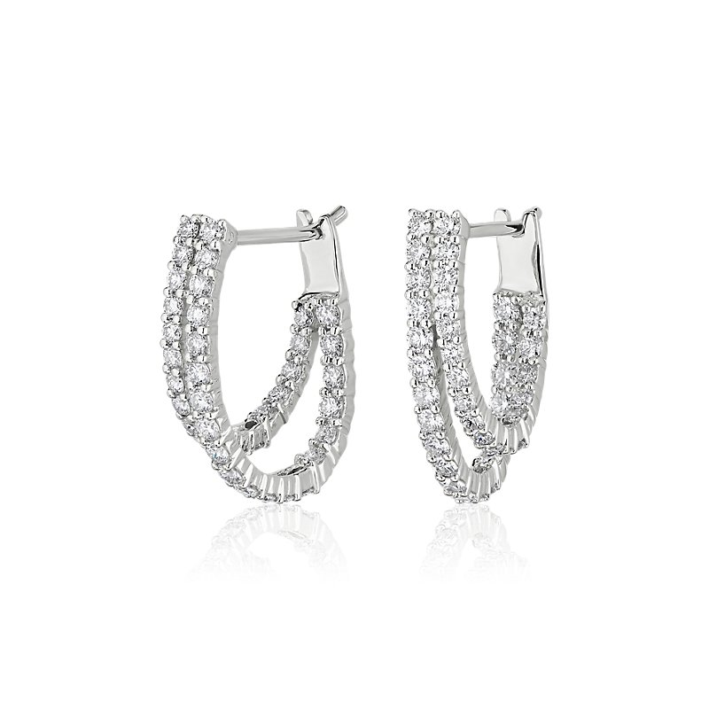 Double Tier Diamond Hoop Earrings in 14K White Gold (1 1/3 ct. tw