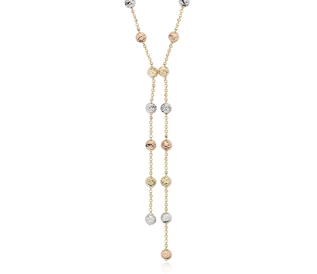 Collier disco double Y en or jaune, blanc et rose 14 carats