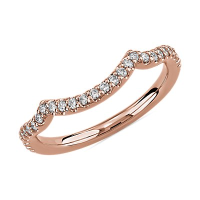 Draped Curved Wedding Ring in 14k Rose Gold (1/5 ct. tw.)