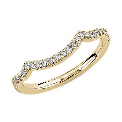 Draped Curved Wedding Ring in 14k Yellow Gold (1/5 ct. tw.)