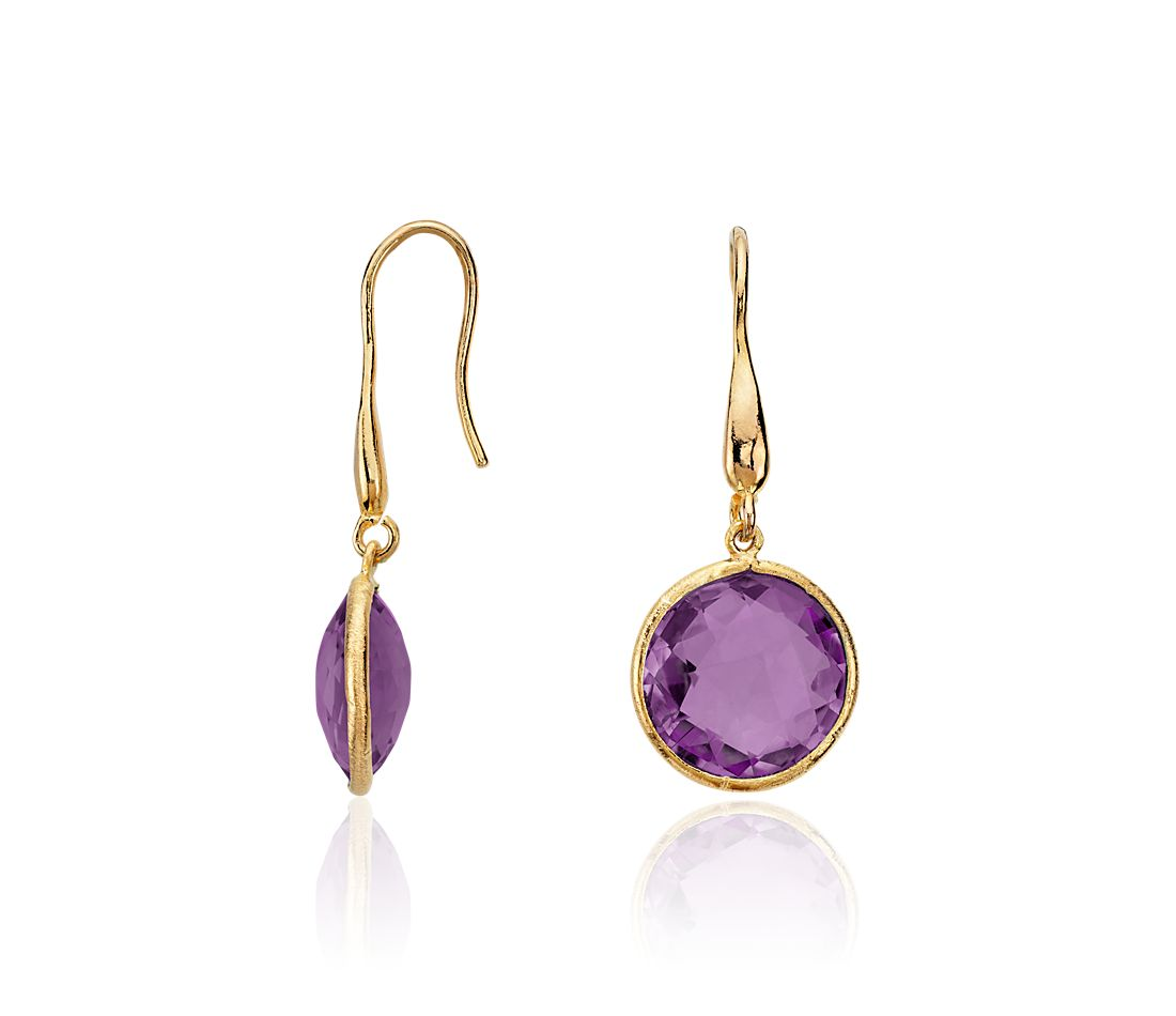 Amethyst Round Drop Earrings In Gold Vermeil
