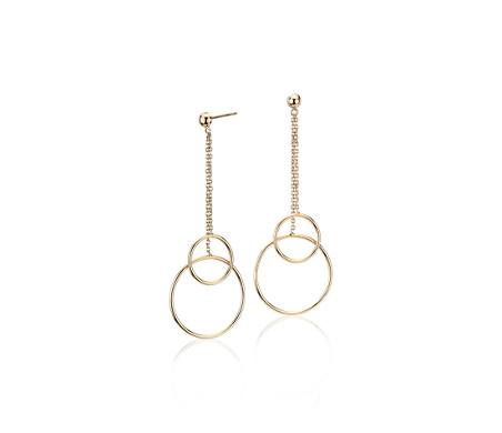 14k 義大利黃金 滴狀雙圈吊墜釘款耳環