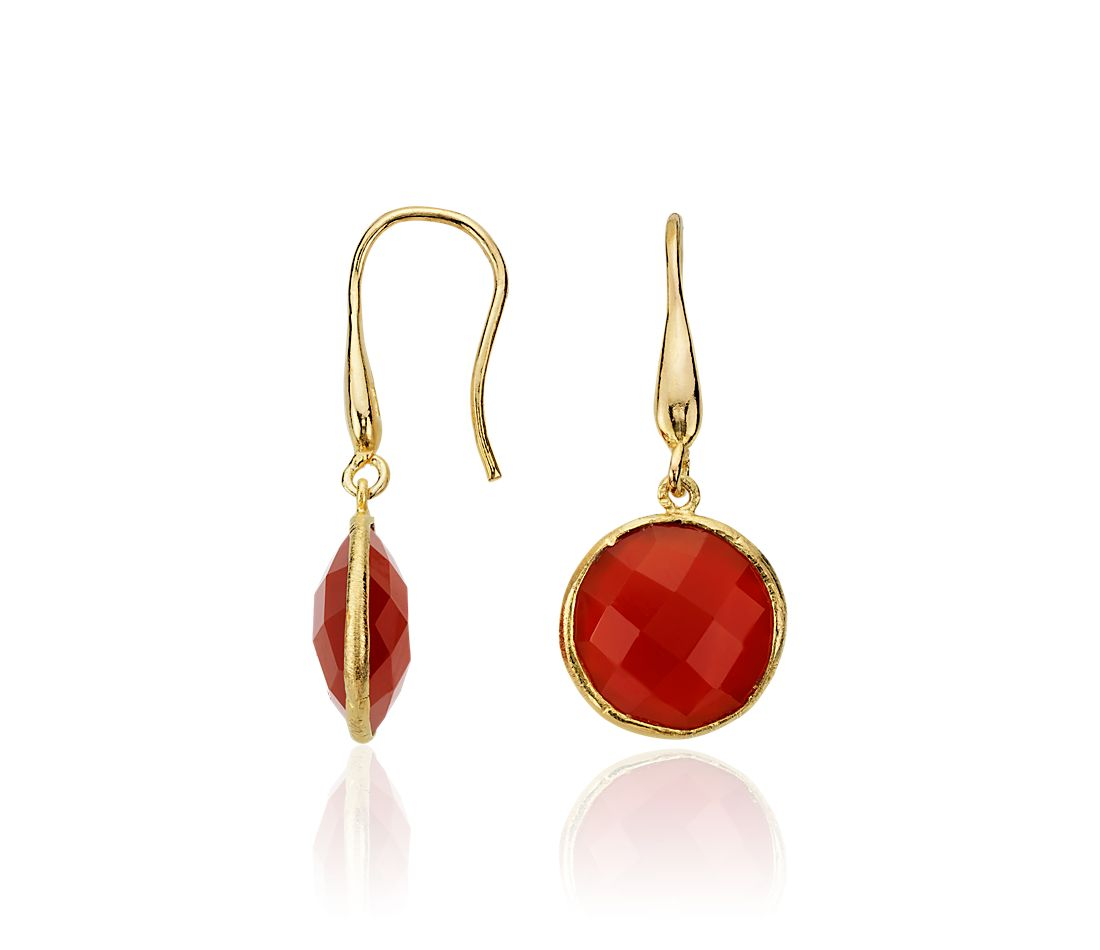 Red Agate Round Drop Earrings in 18k Yellow Gold Vermeil