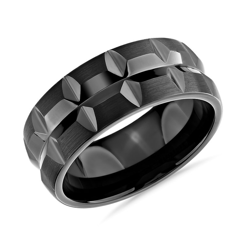 Dual Black Faceted Eternity Wedding Ring in Black Tungsten Carbid