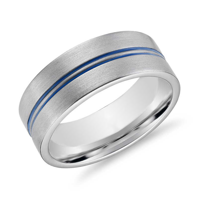 Dual Channel Blue Engraved Wedding Band in 14k White Gold (8mm)