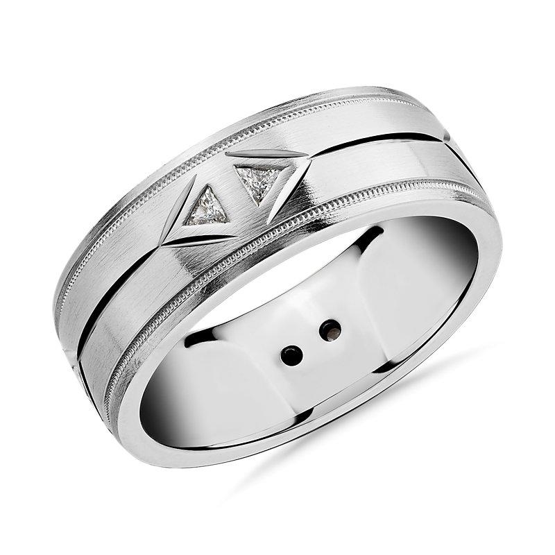 Dual Milgrain Inlay Trillion Diamond Eternity Wedding Band in Platinum (8mm)