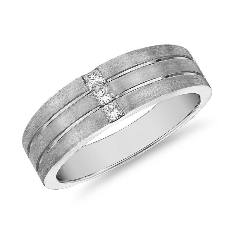 Matte Trio Princess-Cut Diamond Wedding Ring in 14k White Gold (7