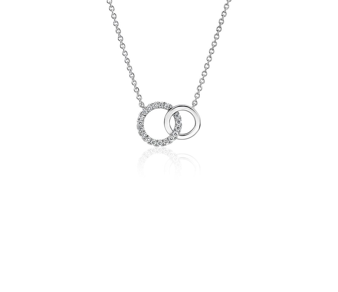 Mini Duet Circle Diamond Necklace in 14k White Gold