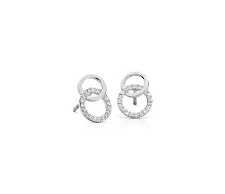 Duet Diamond Circle Earrings in 14k White Gold (1/10 ct. tw.)
