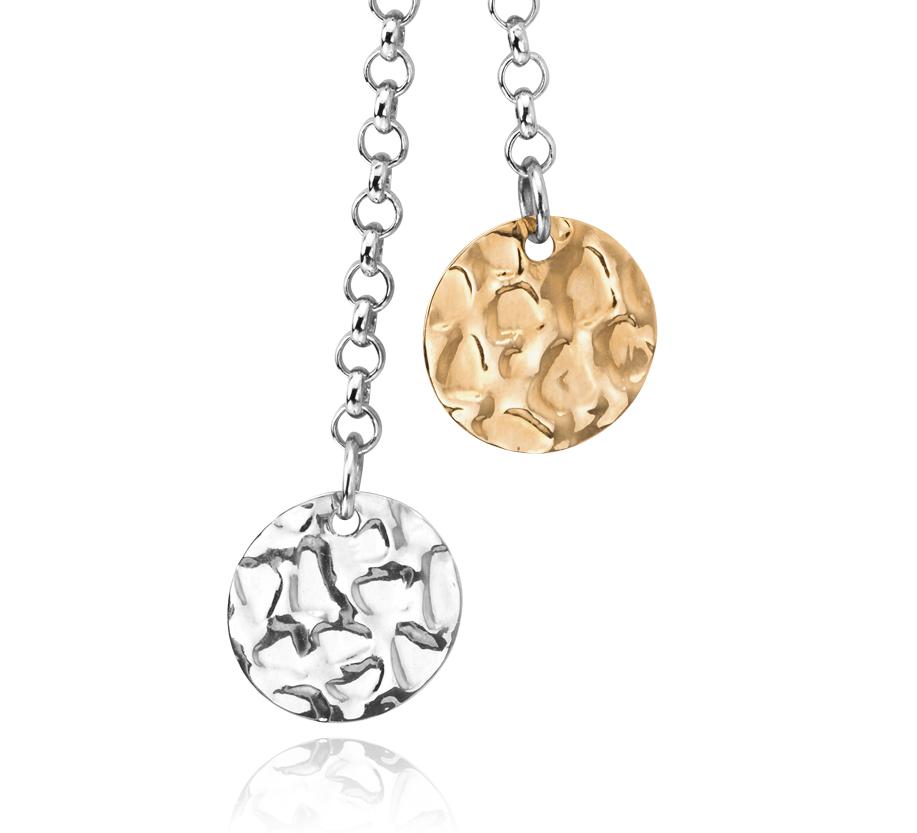 Collier chaîne disque duo en argent sterling avec or jaune 14carats