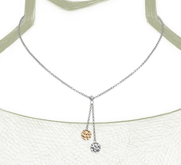 Duet Disc Chain Necklace in Sterling Silver with 14k Yellow Gold