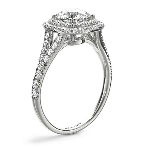 Cushion Duet Halo Diamond Engagement Ring