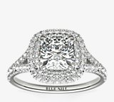 Cushion Duet Halo Diamond Engagement Ring