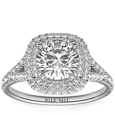 18k 白金墊形切割雙鑽石光環訂婚戒指(1/2 克拉總重量)
