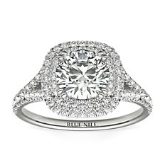 18k 白金枕形切割光环钻石订婚戒指<br>(1/2 克拉总重量)
