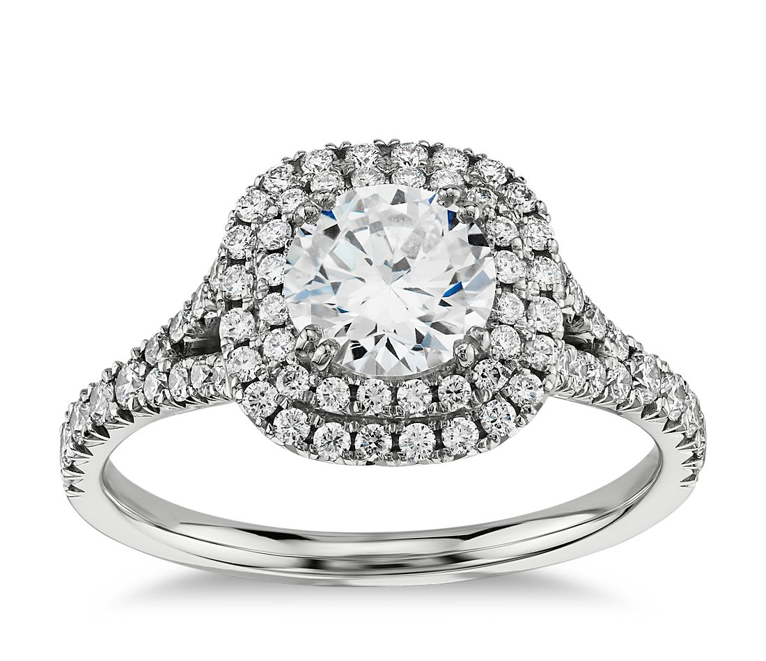 4b74e2cf165d Duet Halo Diamond Engagement Ring in 18k White Gold (1 2 ct. tw ...