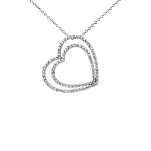 Collar de diamantes con dos corazones en oro blanco de 14 k (3/4 qt. total)