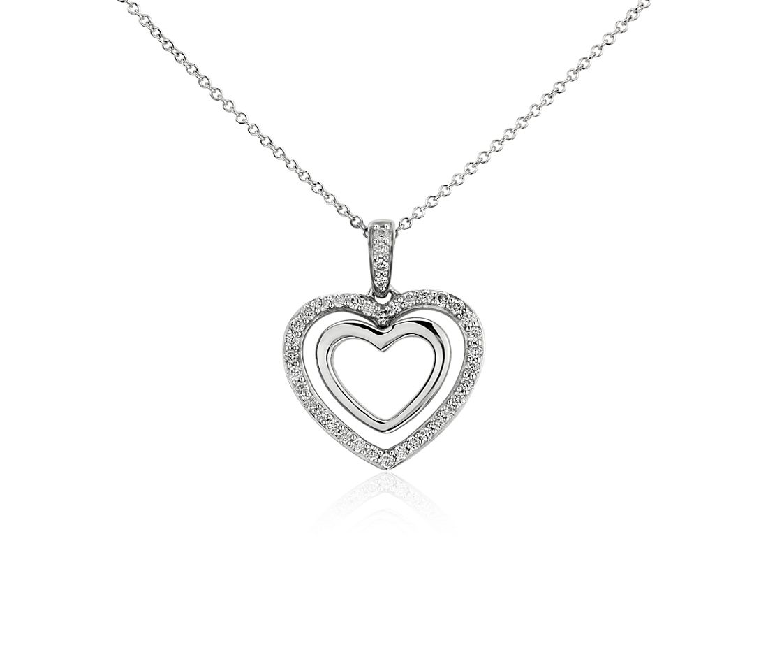 Duet Heart Diamond Pendant in 14k White Gold (1/4 ct. tw.)