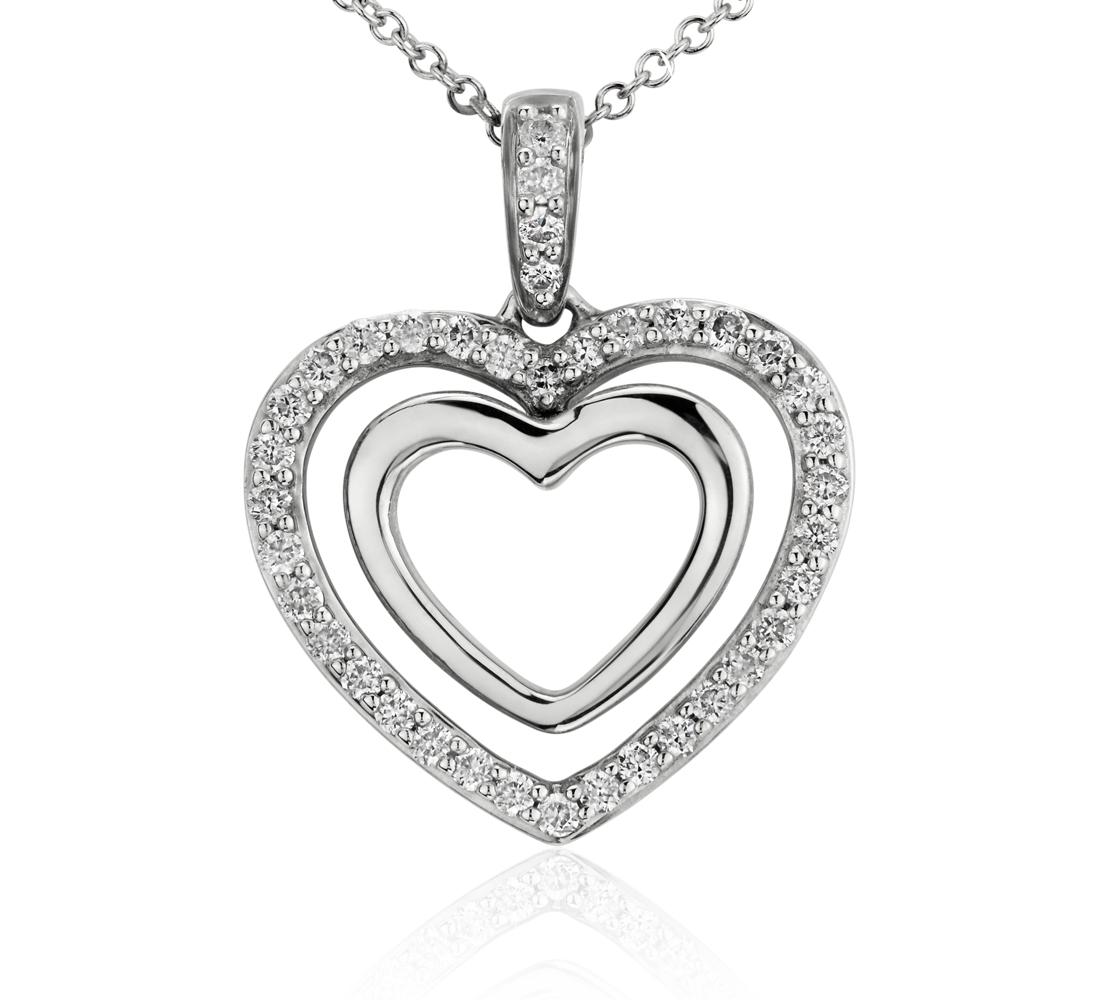 Pendentif diamant cœur en or blanc 14carats (1/4carat, poids total)