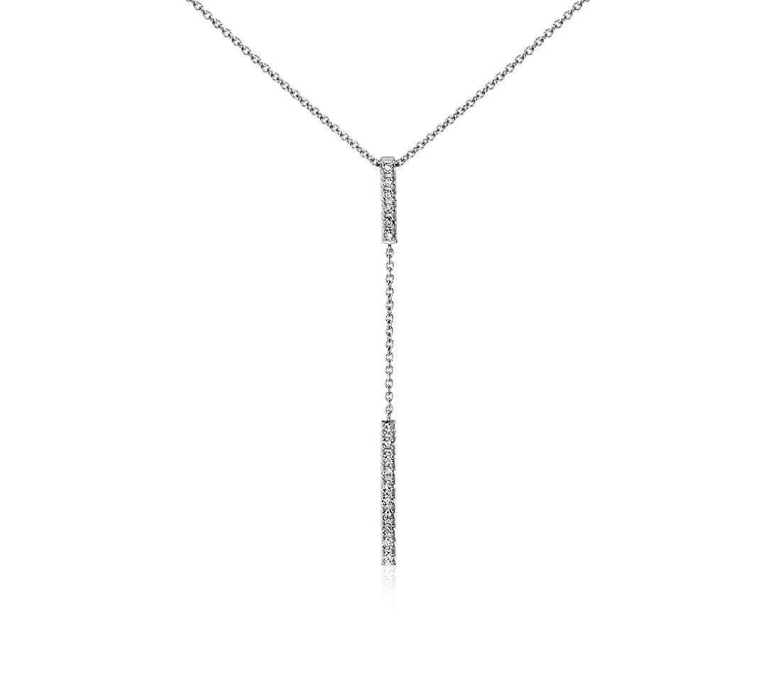 Diamond Bar Drop Necklace In 14k White Gold Blue Nile