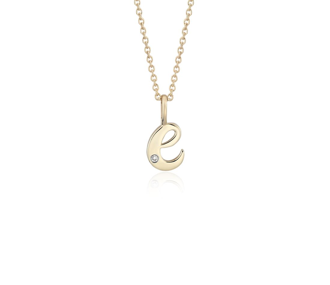 """E"" Mini Initial Pendant with Diamond Detail in 14k Yellow Gold"