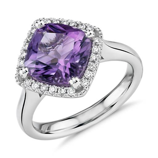 Blue Nile Cushion-Cut Amethyst and Diamond Halo Ring in 14k Rose Gold (10x8mm) tFsCA