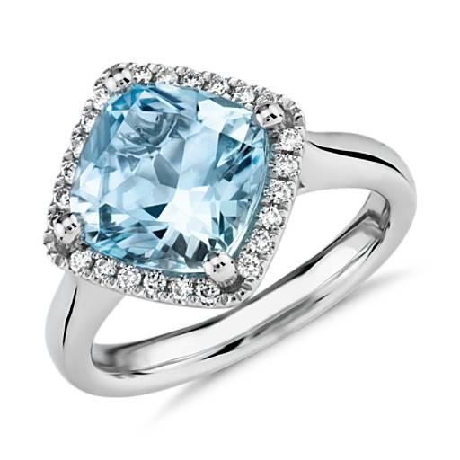 East West Swiss Blue Topaz Diamond Halo Ring In 14k White