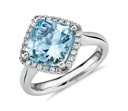 Blue Nile Cushion-Cut Swiss Blue Topaz Diamond Halo Cocktail Ring in 14k White Gold (10.5mm) TMVeuenj