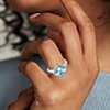 14k 白金 East West 瑞士蓝托帕石钻石光环戒指<br>(9毫米)