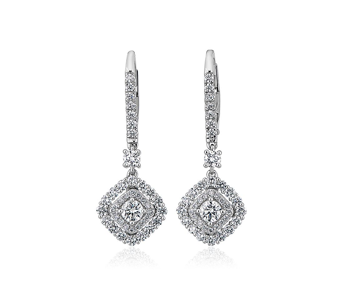 East West Cushion Halo Drop Earrings in 14k White Gold (1 ct. tw.)