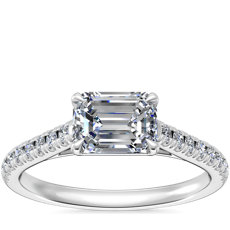 NEW East West Diamond Engagement Ring in 14k White Gold