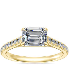 NEW East West Diamond Engagement Ring in 14k Yellow Gold