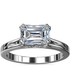 East-West Emerald Cut Solitaire Plus Diamond Engagement Ring in 14k White Gold